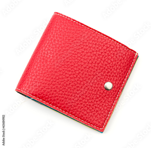 red leather wallet isolated white background