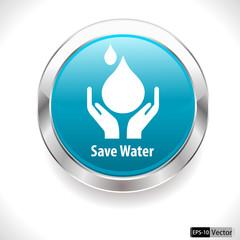 save water badge, water drop - vector EPS10
