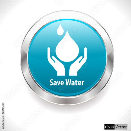 save water badge, water drop - vector EPS10