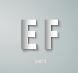 Vector Paper Graphic Alphabet E F