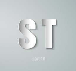 Vector Paper Graphic Alphabet S T