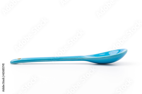 blue spoon isolated white background