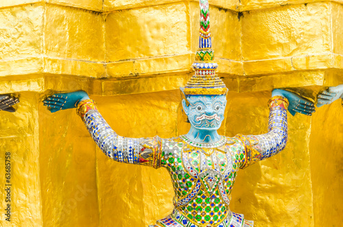 Giant statue in emerald temple bangkok thailand