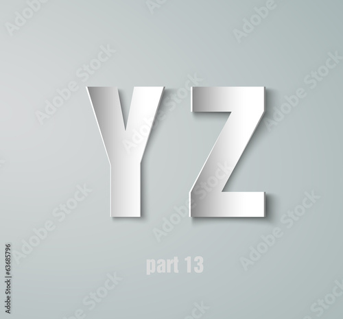 Vector Paper Graphic Alphabet Y Z