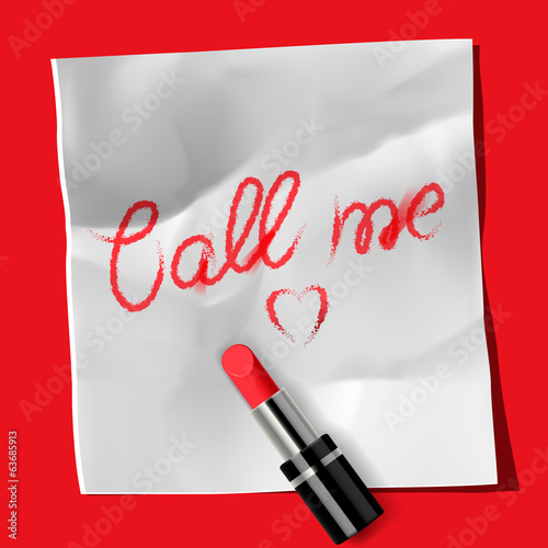 "Lipstick and inscription ""Call me"""