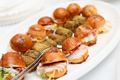 Appetizers with bacon and small buns