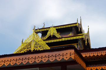 The gable of wooden pavilion in Buddhist temple
