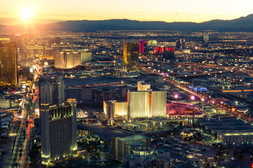 Las Vegas skyline at sunset - The Strip illunminated