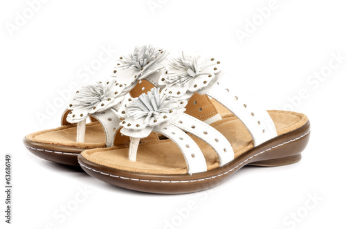 White Leather Flip Flop Sandals Isolated