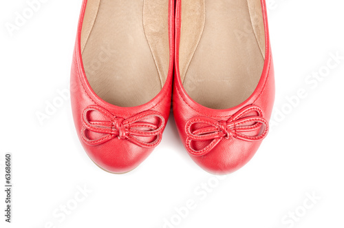 Red Leather Ballet Slippers Isolated