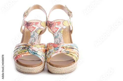 Floral Pattern Wedge Sandals Isolated