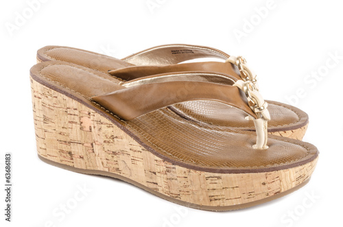 Brown Wedge Flip Flops Isolated