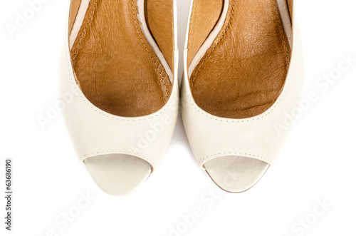 Bone White Open Toe Dress Shoes Isolated