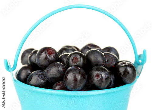 ripe blueberries in blue bucket on white background close-up
