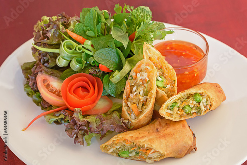 Fried spring rolls food