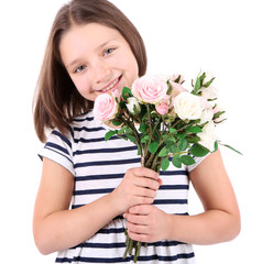 Beautiful little girl with flowers in her hand, isolated