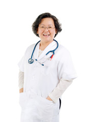 Portrait of a smart asian senior female doctor