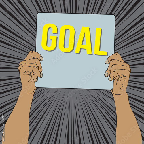 Hand holding Goal cardboard with radial speed background