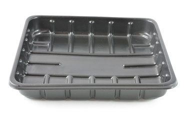 Black Plastic Storage Tray On White Background