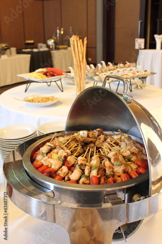 BBQ with kebab cooking. coal grill of chicken meat skewers