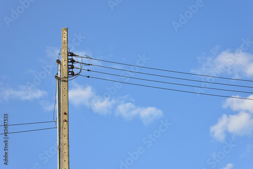 The cable and wires on electricity post