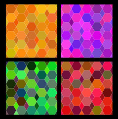 Mosaic geometry colorful pattern set