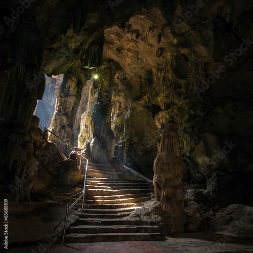 Foto op Canvas Canyon Khao Luang cave in Phetchaburi, Thailand