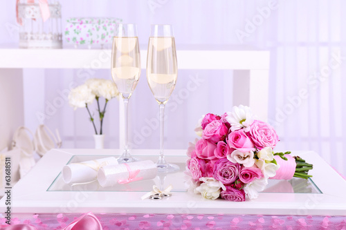 Beautiful wedding still life with  bouquet