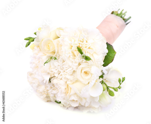 Beautiful wedding bouquet, isolated on white