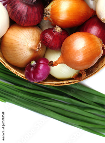 Different raw onion, isolated on white