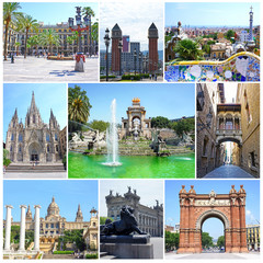Collage of landmarks of Barcelona, Spain