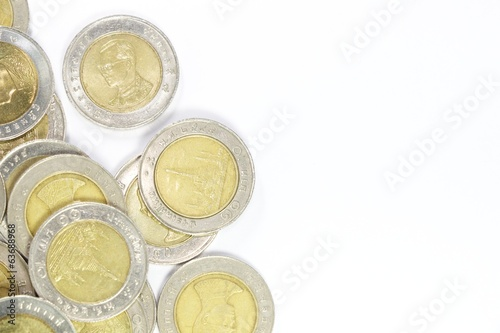 group of 10 baht coin on left side for background