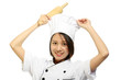 Chef woman smiling holding baking rolling pin