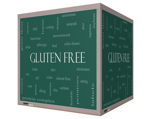 Gluten Free Word Cloud Concept on a 3D cube Blackboard