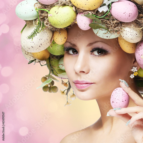 Easter Woman. Spring Girl with Fashion Hairstyle