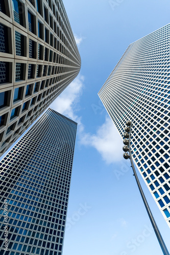 The three buildings of Azrieli Center in Tel-Aviv, Israel