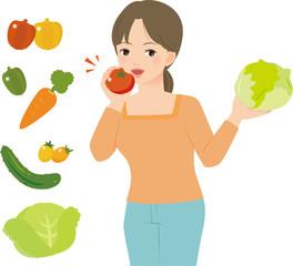 トマトを齧る女性とたくさんの野菜