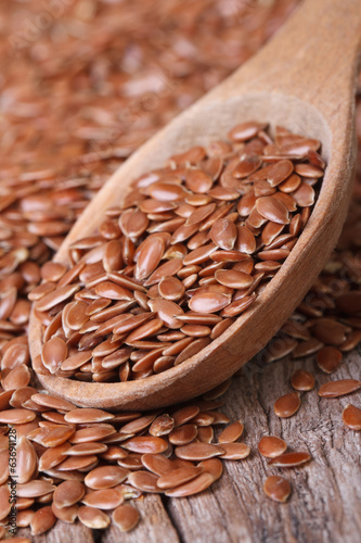 Flax seeds in a wooden spoon macro. Vertical