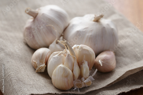garlic on wood table