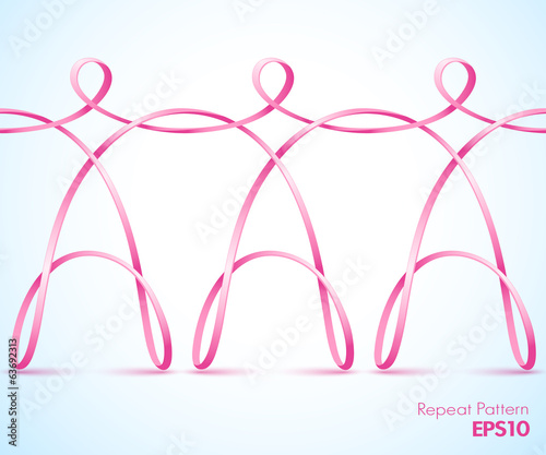Continuous pink female ribbon figures holding hands