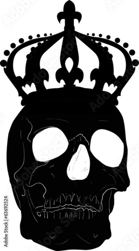 black skull in crown on white