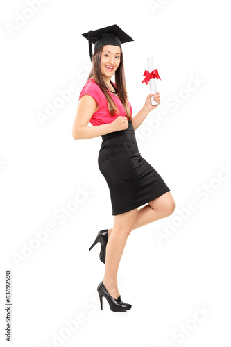 Happy woman holding a diploma
