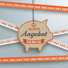 Sale Sticker Lines Piggy Bank Angebot Price Sticker