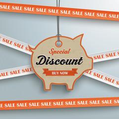 Sale Sticker Lines Piggy Bank Price Sticker