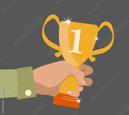 Flat design concept icon of winner cup in hand