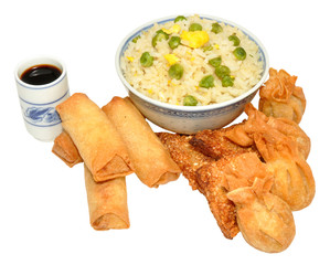 Chinese Snack Selection And Egg Fried Rice