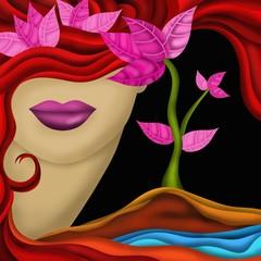 viso di donna e foglie rosa