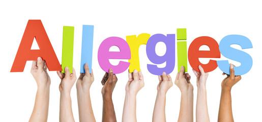Group of Multiethnic Hands Holding Allergies