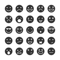 Smiley faces icons set of emotions