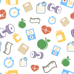 Healthy lifestyle elements background pattern